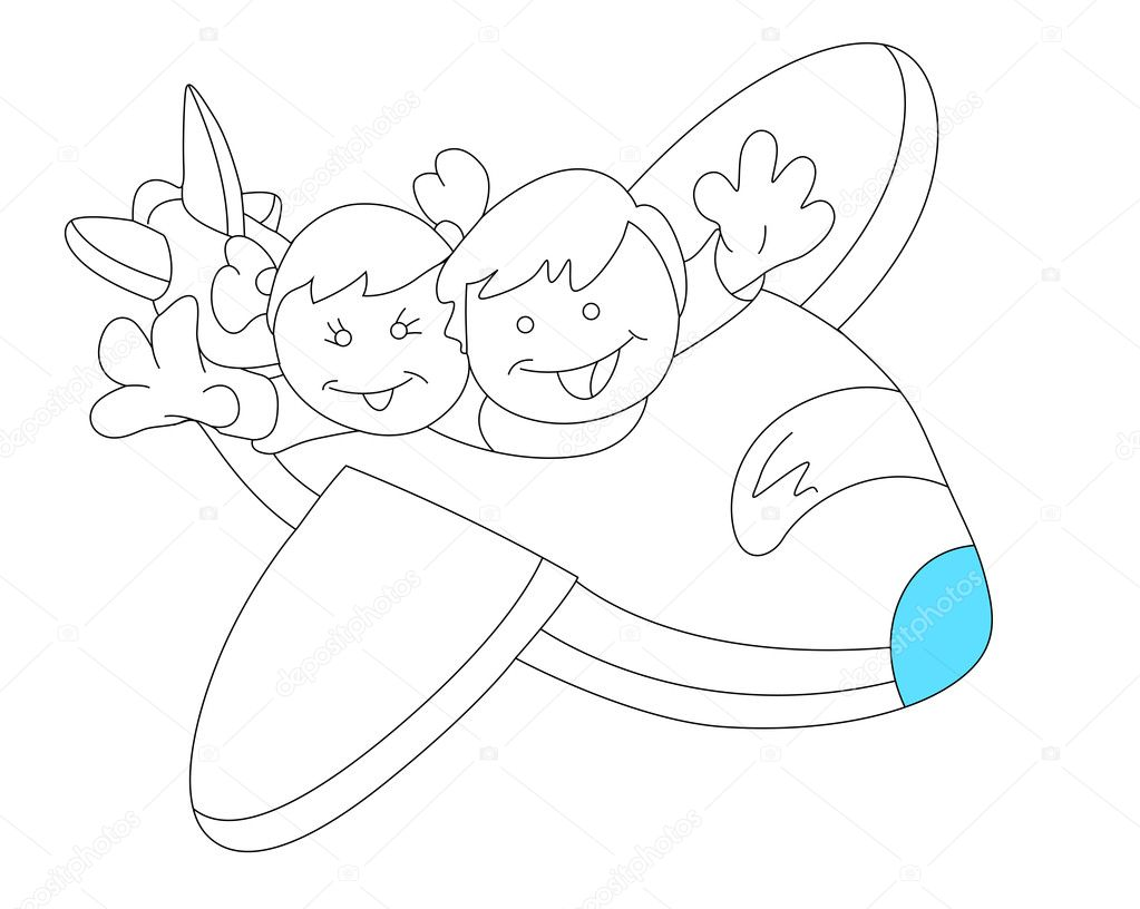 airplane drawing for kids