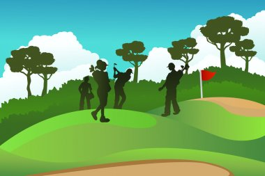 A vector illustration of a few golf players on a golf course stock vector