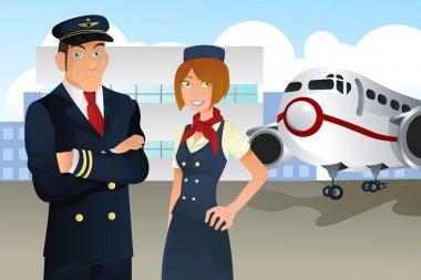Pilot and stewardess