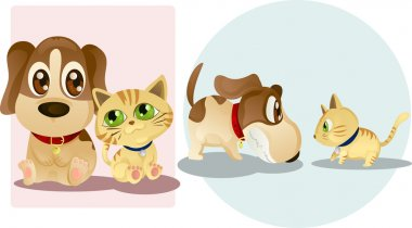 Vector illustrations of a dog and a cat, being friends and enemies stock vector