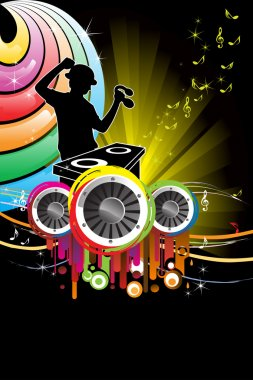A vector illustration of a music DJ playing music stock vector