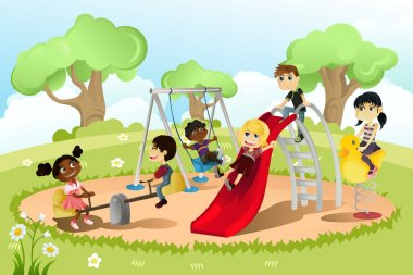 A vector illustration of a group of multi-ethnic children playing in the playground stock vector