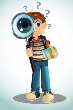 Student holding books and magnifying glass