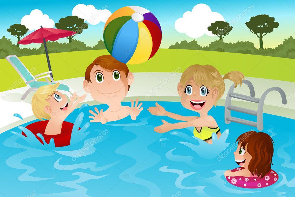Family In Swimming Pool Stock Vector Artisticco 8178509