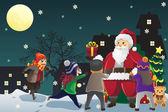 Santa claus rozdávání vánočních dárků pro děti