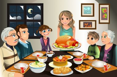 A vector illustration of a family having a Thanksgiving dinner together stock vector