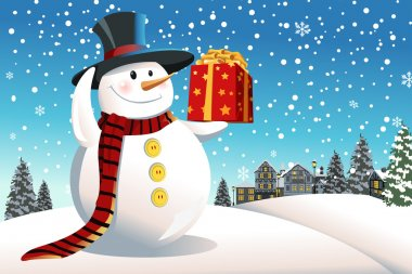 Snowman holding Christmas present