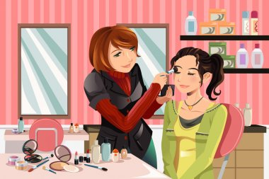 A vector illustration of a makeup artist working on a client at a beauty salon clip art vector