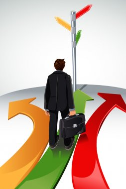 A vector illustration of a business concept, a businessman standing at a crossroads, with the sign posts pointing to multiple directions stock vector