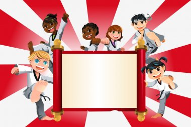 A vector illustration of a banner with kids practicing karate stock vector