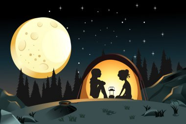 A vector illustration of two girls camping in the wilderness clip art vector