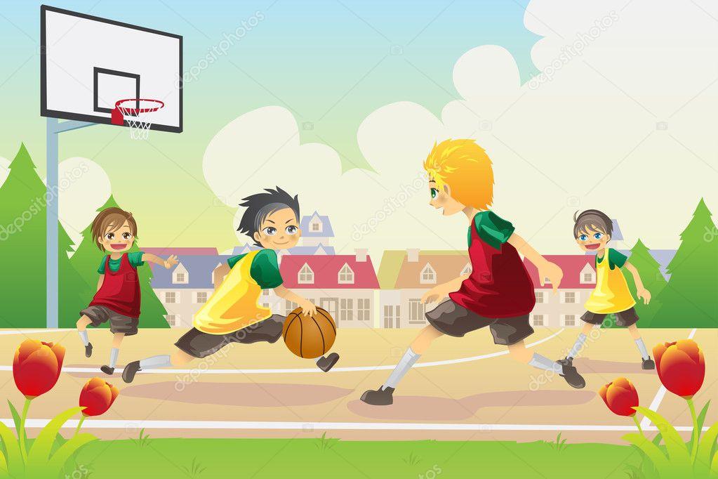 Vettore Basket Bambini Bambini Che Giocano A Basket Vettoriali