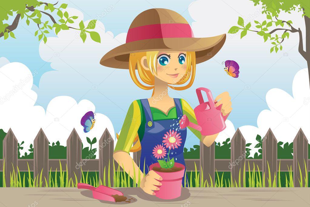 ᐈ Cartoon Gardening Stock Images Royalty Free Cartoon Gardening Girl Cliparts Download On Depositphotos