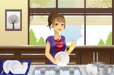 Housewife washing dishes