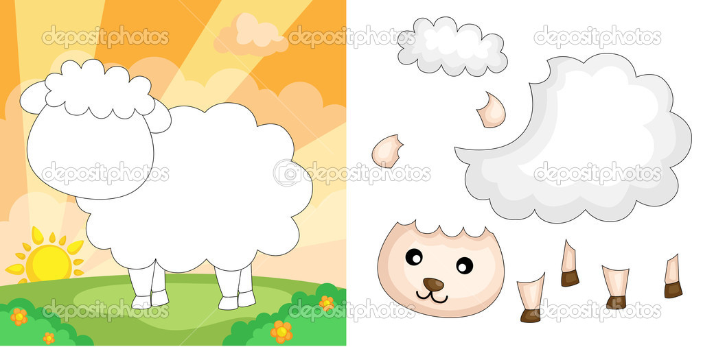 Sheep puzzle — Stock Vector © artisticco #9737352
