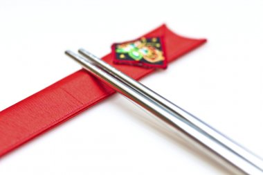 Korean chopsticks on white background