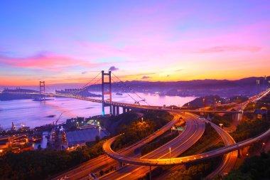 Tsing Ma Bridge at sunset moment in Hong Kong