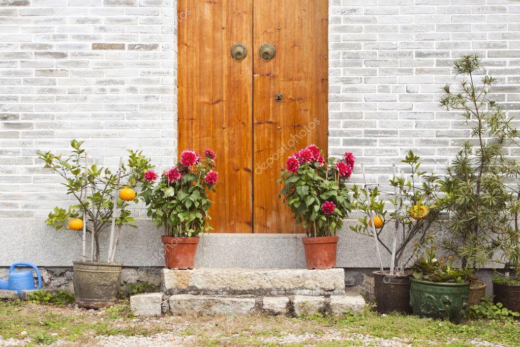 Wooden door and garden