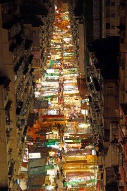 Temple Street in Hong Kong at night