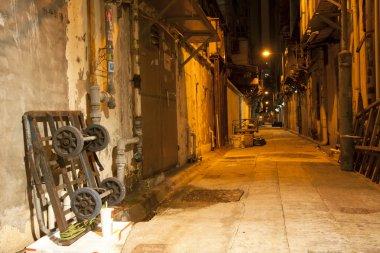Old alley in Hong Kong at night