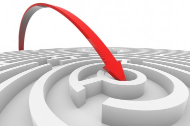 Arrow jumps to the center of the white maze. Concept of success.