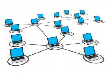 Abstract computer network with laptops.