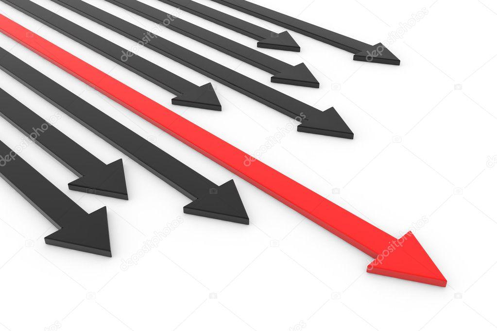 Red arrow ahead of black arrows. Concept of leadership, success
