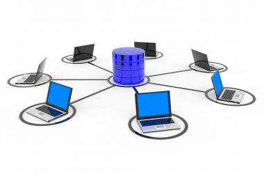Abstract computer network and database.