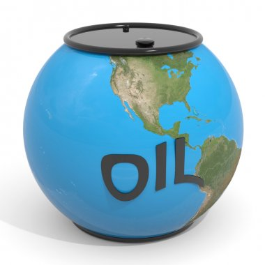 Earth globe - oil barrel.