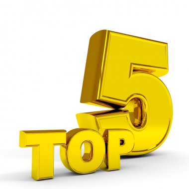 Gold TOP five. Computer generated image. stock vector