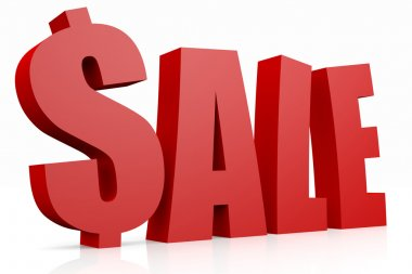 SALE 3D text. Dollar sign replacing S letter.