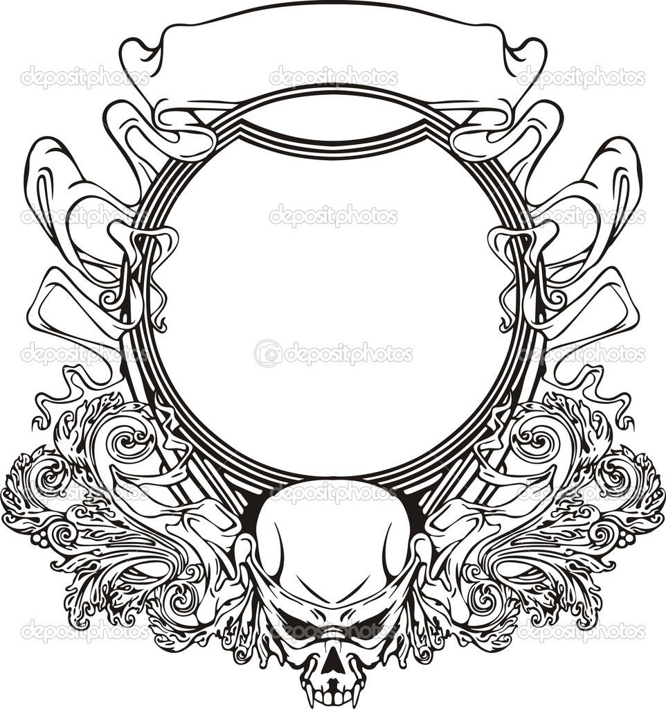 Frame with skull in Art Nouveau style — Stock Vector © rorius #10512870