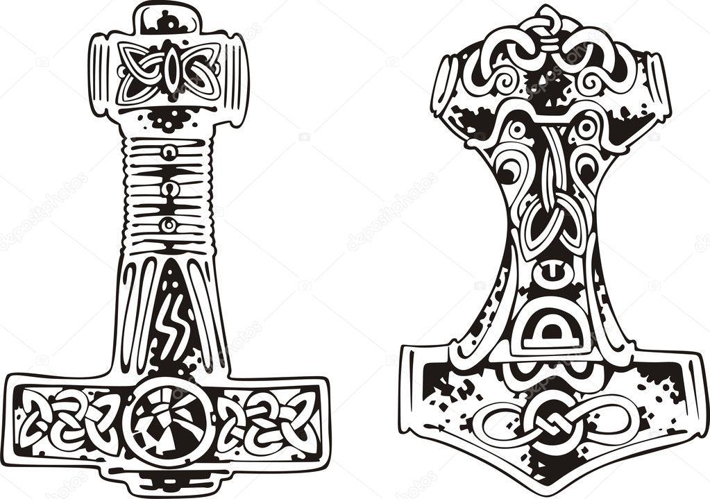 Эскиз татуировка молот тора