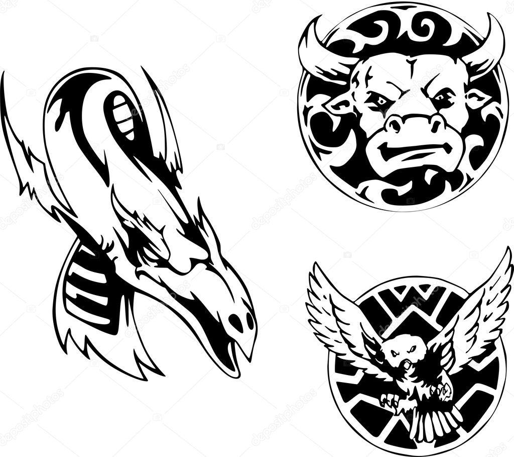 Zwierzęcy Tatuaż Wzory Grafika Wektorowa Rorius 10537050