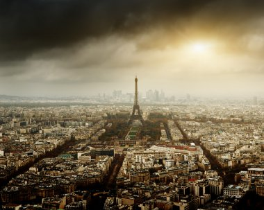 Eiffel tower in Paris and stormy sky