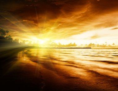 Sunrise on Caribbean beach