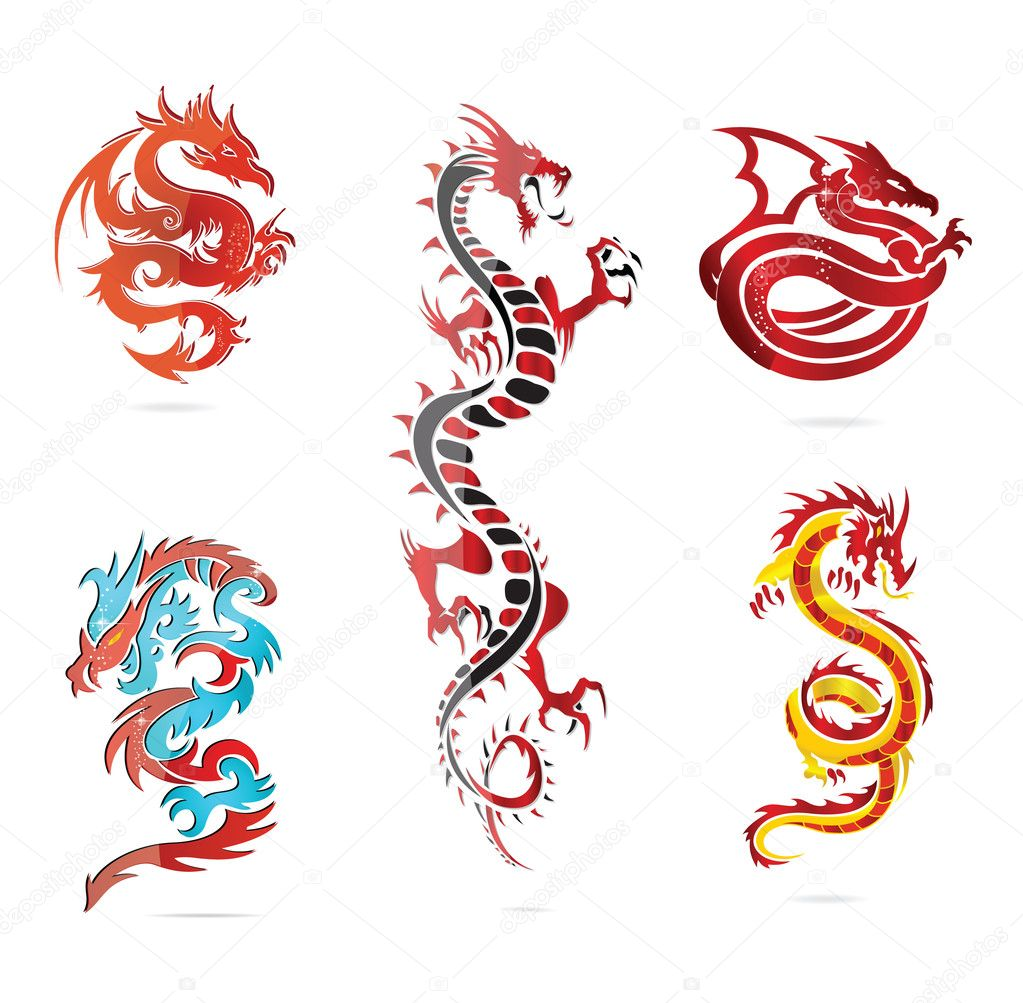 glass asia hot dragon colored sign set � stock vector
