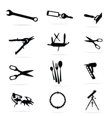 Black silhouettes of tools symbols set