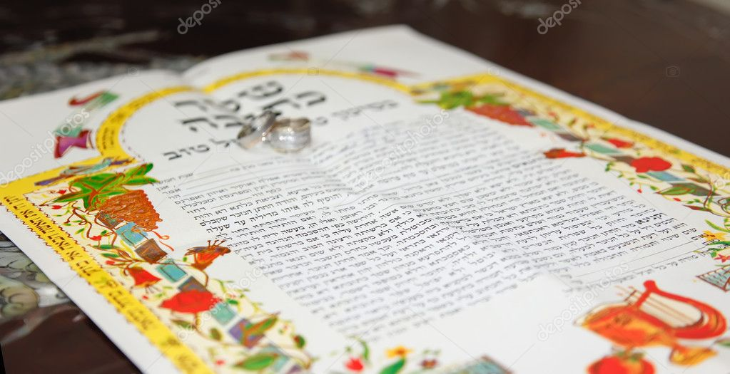 Traditional Jewish Wedding Signing Prenuptial Agreement Ketubah Marriage Contract Photo By KaterinaLin