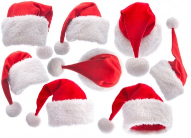 Set red Santa Claus hat on white background