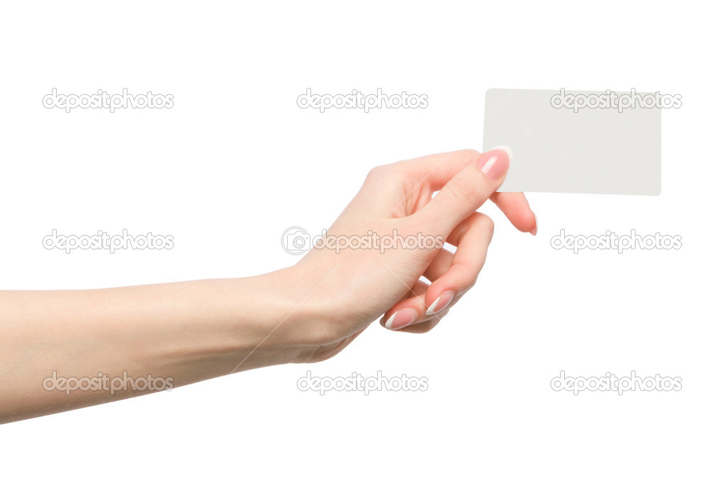Female hand holding a blank business card — Stock Photo © grafoto ...
