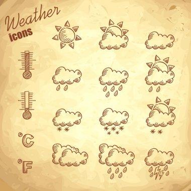 Retro weather icons hand drawn