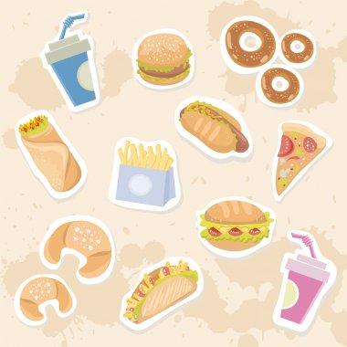 Fastfood delicious stickers set on grungy background