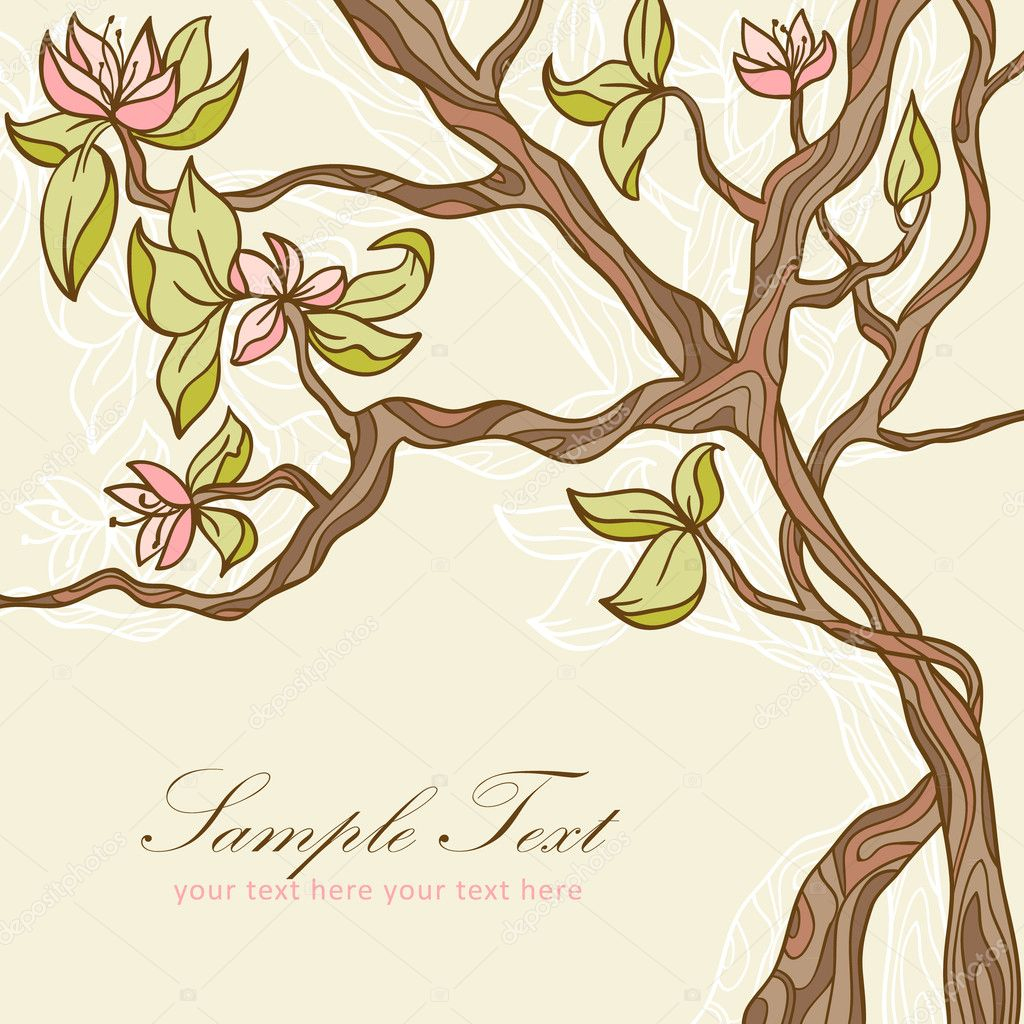 Beautiful blooming tree romantic postcard