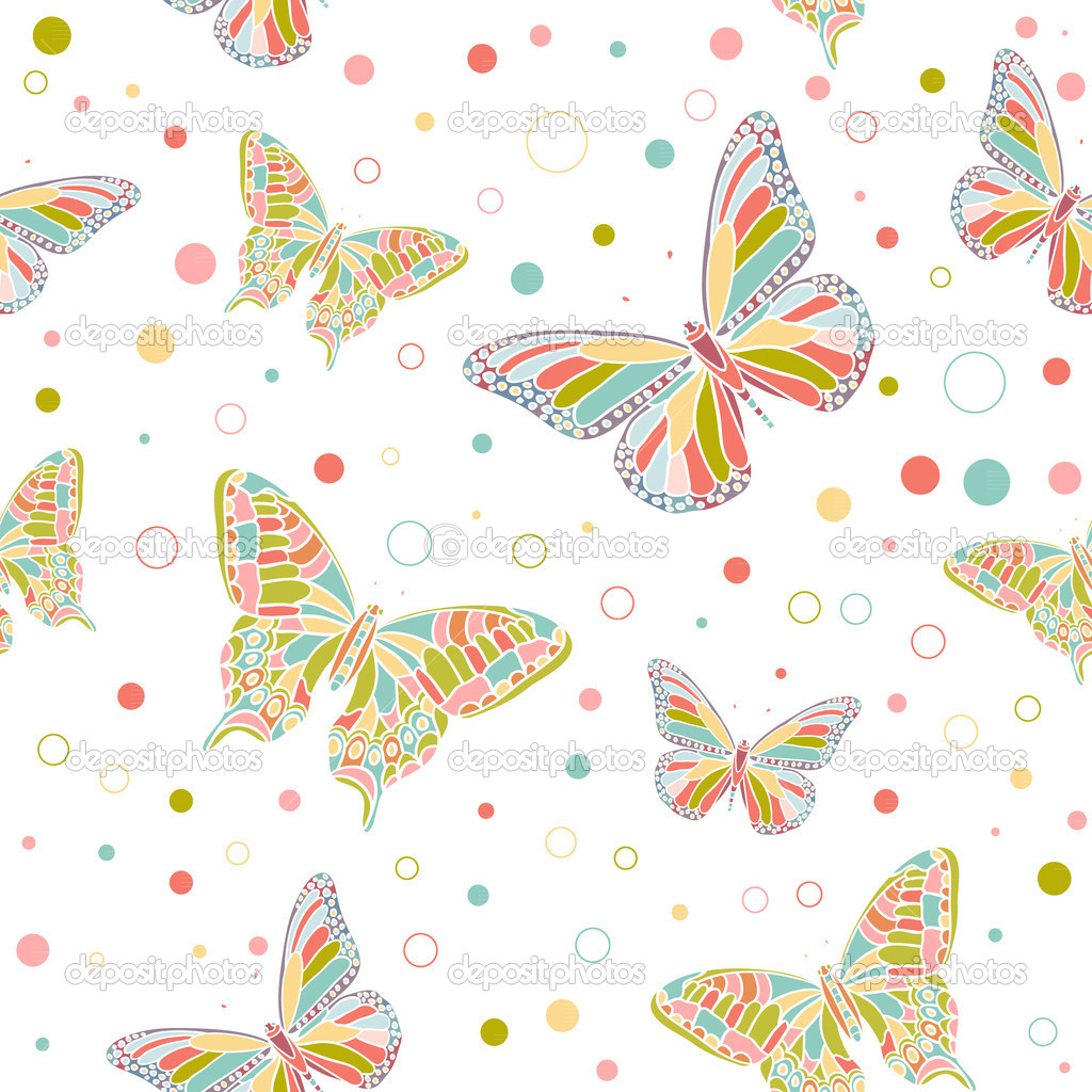Colorful butterflies seamless pattern