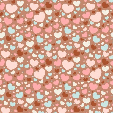 Cute Valentine love seamless pattern with colorful hearts clip art vector