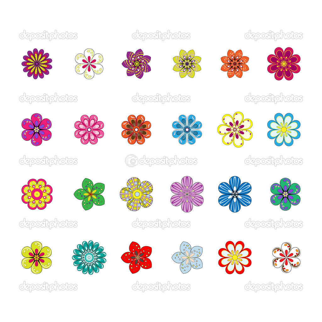 Set with cute colorful flowers