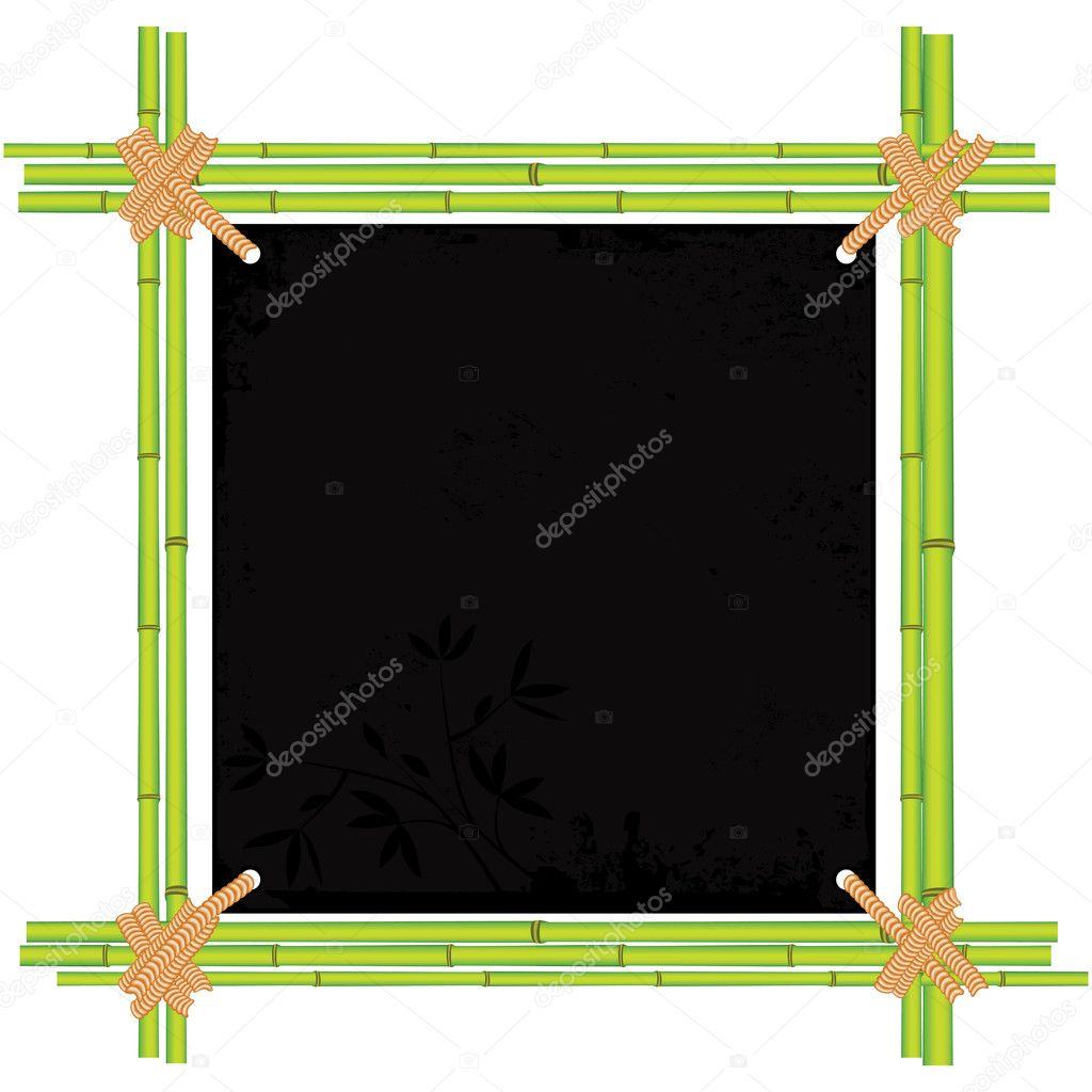Bamboo frame with tropic old paper