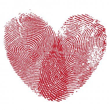 Vector heart, man and woman fingerprint valentine romantic background. Design element. stock vector