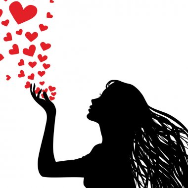 Woman silhouette hand. Pretty girl blowing heart. Drawing background. Vector illustration. clip art vector